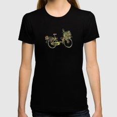 Flower-bike Womens Fitted Tee Black LARGE