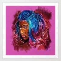 nicki Art Prints featuring Painting Nicki by Tazmatic