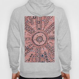 Light Pink Wildflower Sunshine I // 18th Century Colorful Pinkish Dusty Blue Gray Positive Pattern Hoody