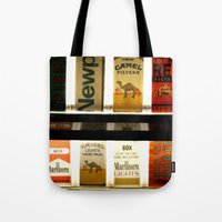 cigarette Tote Bags featuring Cigarette Machine by Lesley Ross Media