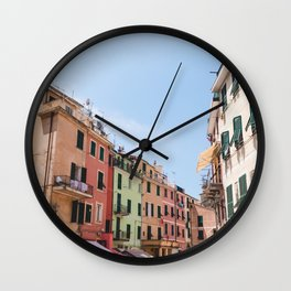 Rainbow Street | Cinque Terre Italy Street City Architecture Photography Wall Clock
