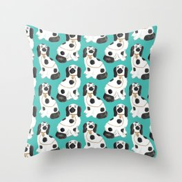 Staffordshire Dog Figurines No. 2 in Vivid Jade Throw Pillow