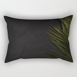 Black Wall with Palm Leaves Rectangular Pillow