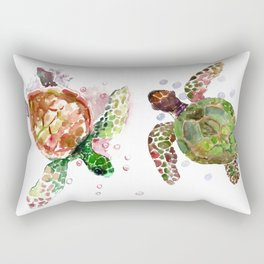 Turtles, Olive Green Cherry Colored Sea Turtles, turtle Rectangular Pillow