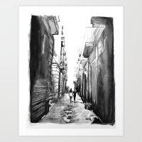 barcelona Art Prints featuring Barcelona by Rebekah Robinson