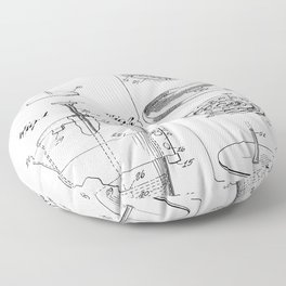 Coffee Filter Patent - Coffee Shop Art - Black And White Floor Pillow