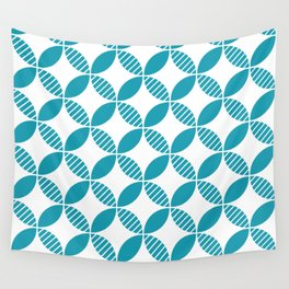 Mid Century Modern Geometric Flower Pattern Turquoise Wall Tapestry