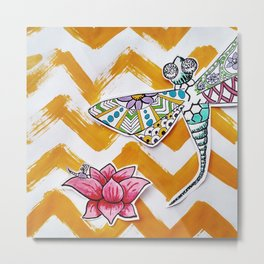 Dragon Fly and Lotus Flower with Yellow Chevron Background Metal Print