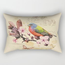 Vintage illustration with bird and butterfly Rectangular Pillow