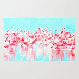 Flamingos tropical illustration Rug