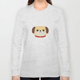 Cute puppy Dog with red collar Long Sleeve T-shirt