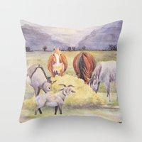 thanksgiving Throw Pillows featuring Thanksgiving by LaurelAnneEquineArt