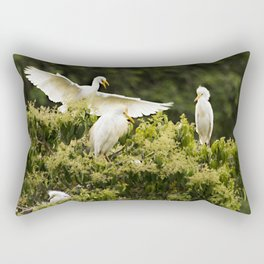 Heron landing on a tree with nests Rectangular Pillow
