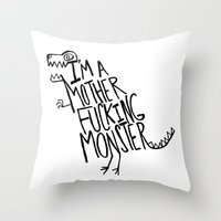 monster Throw Pillows featuring  Monster by Leah Flores