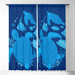 Ocean Blue Sea Turtles Blackout Curtain