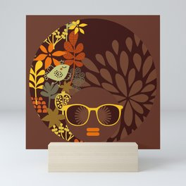 Afro Diva : Sophisticated Lady Retro Brown Mini Art Print
