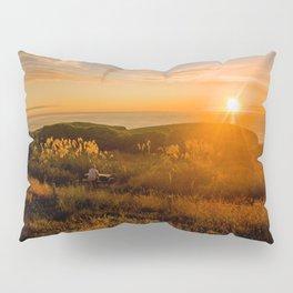 jacks bay new zealand at sunset farmland bay orange sunset rocks Pillow Sham