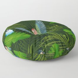 Lovebirds and tropical leafs Floor Pillow