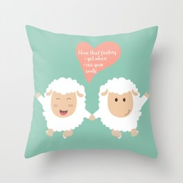 Happy Sheep Couple - I love that feeling I get when I see your smile - Happy Valentines Day Throw Pillow