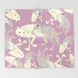 Totem Artic Wolf lilac Throw Blanket