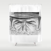 clint eastwood Shower Curtains featuring Clint Eastwood by Robin Ewers