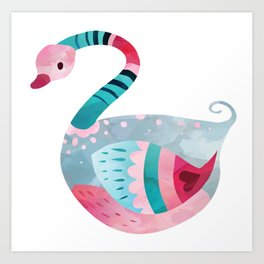 Love Bird Swan Art Print