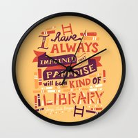 risa rodil Wall Clocks featuring Library by Risa Rodil