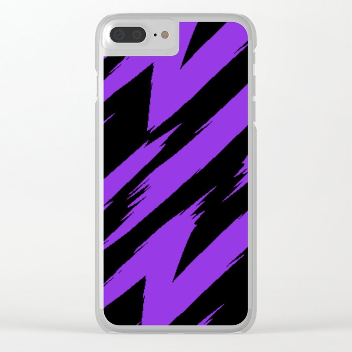 Blue Violet and Black Zigzag Jagged Lines Clear iPhone Case