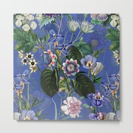 Vintage & Shabby Chic -  Classic Night Blue Exotic Botanical Garden Metal Print
