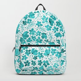 Turquoise Watercolor Floral Pattern Backpack