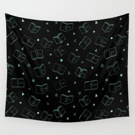 Classic Books Invert Green Wall Tapestry