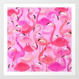 Flamingo pattern pink Art Print