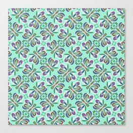 Field of Aqua Turquoise  Butterflies , Purple Wings Patterns in Geometric Formation with Flowers Canvas Print