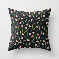 tulips Throw Pillows featuring Tulips by Heart of Hearts Designs