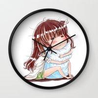 hug Wall Clocks featuring Hug by Kisava NiCh
