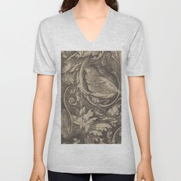 Black and White Paisley Pattern - Date Unknown Unisex V-Neck