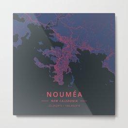 Noumea, New Caledonia - Neon Metal Print