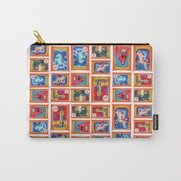 Sideshow Banner Multi-Print Pattern on White Carry-All Pouch