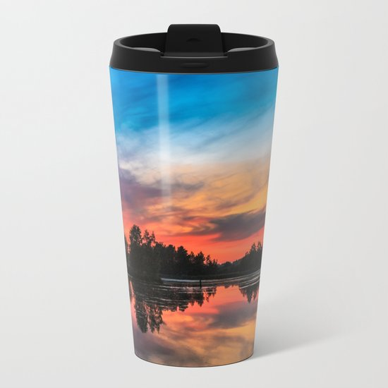Summer Sunset over Lake Metal Travel Mug