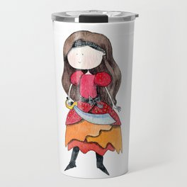 Brown haired pirate girl   Watercolor portrait Travel Mug