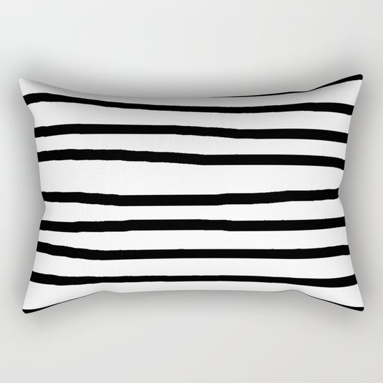 Simply Drawn Stripes in Midnight Black Rectangular Pillow