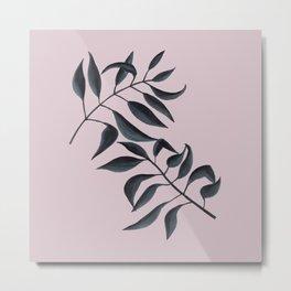 Grey Leaves on Pink Metal Print