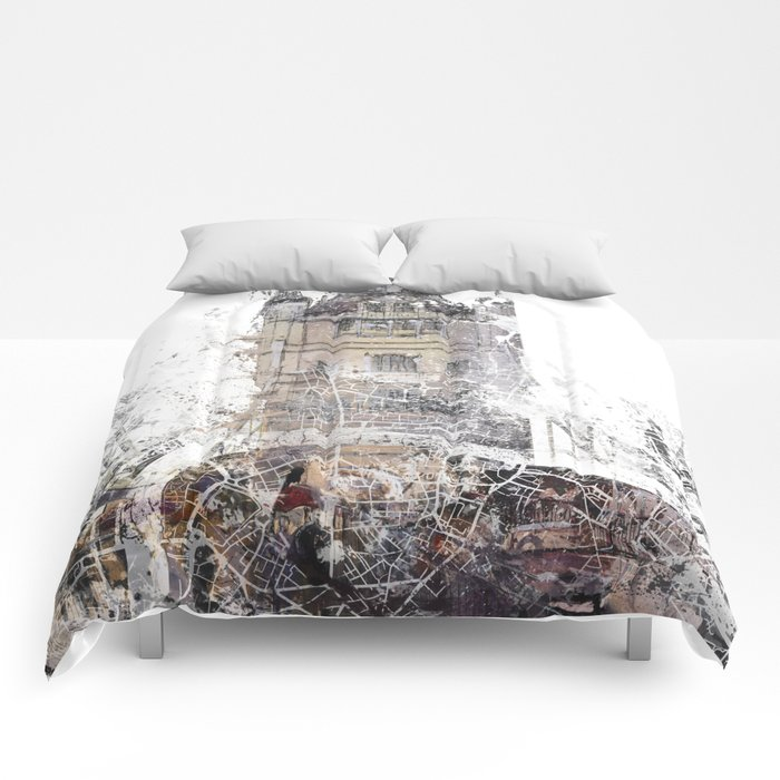 London map - Tower Bridge painting Comforters
