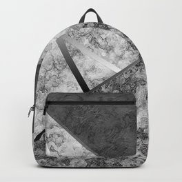 Combined abstract pattern in black and white . Backpack