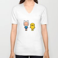 finn and jake V-neck T-shirts featuring #48 Jake and Finn by Brownjames Prints