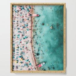 Aerial Beach Print, Large Printable Ocean Waves Wall Art, Teal Coastal Decor, Beach With People Serving Tray