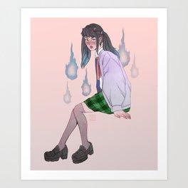 oni girl with onibi Art Print