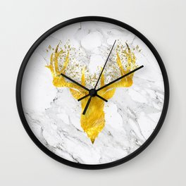 Glittering Golden Deer on White Marble Wall Clock