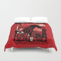 movie posters Duvet Covers featuring B-Movie by jublin