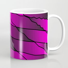 Slanting repetitive lines and rhombuses on iridescent pink with intersection of glare. Coffee Mug